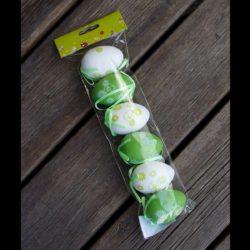 Αυγά διακοσμητικά πράσινα-λευκά, 6cm