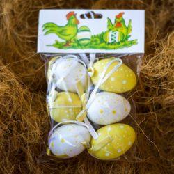Αυγά διακοσμητικά κίτρινα-λευκά, κρεμαστά