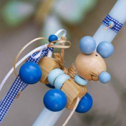 Πασχαλινή Λαμπάδα χειροποίητη με ξύλινο ποντικάκι