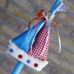 Πασχαλινή Λαμπάδα χειροποίητη με καραβάκι, γαλάζια