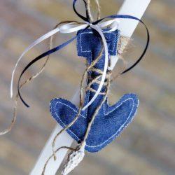 Πασχαλινή Λαμπάδα χειροποίητη με μπλε πάνινη άγκυρα