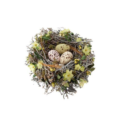 Φωλιά από κλαδιά, με αυγά.