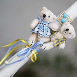 Πασχαλινή Λαμπάδα χειροποίητη με αρκουδάκια