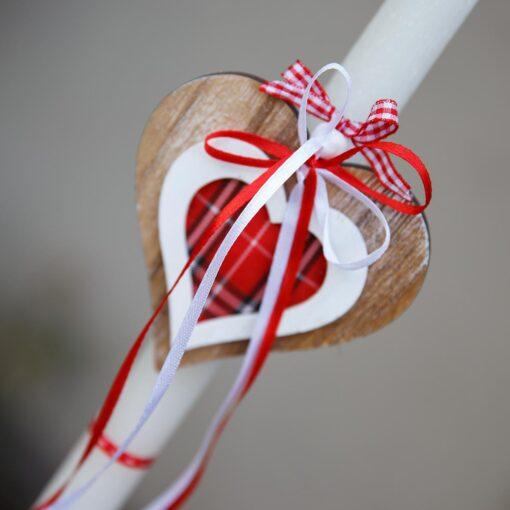 Πασχαλινή Λαμπάδα χειροποίητη με ξύλινη καρδούλα