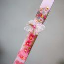 Πασχαλινή Λαμπάδα χειροποίητη, love flower, ροζ