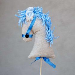 Αλογάκι σε στικ με γαλάζια χαίτη