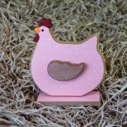 Κοτούλα ξύλινη ροζ, ύψους 16cm
