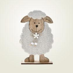 Προβατάκι κρεμ ξύλινο με γούνα, ύψους 21cm