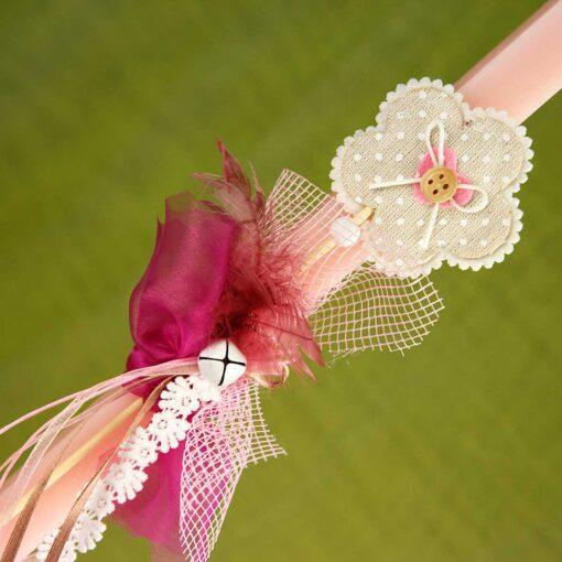 Λαμπάδα ροζ με μαργαρίτα, ύψους 30cm