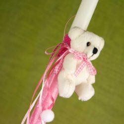 Λαμπάδα με λευκό αρκουδάκι ύψους 30cm