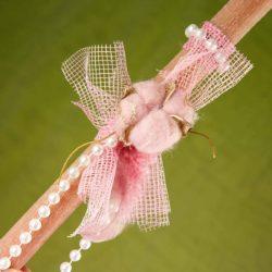 Λαμπάδα ροζ με άνθος βαμβακιού