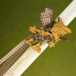 Λαμπάδα με ξύλινο Πινόκιο, ύψους 31cm