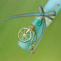 Λαμπάδα ξυστή, γαλάζια με ποδηλατάκι, ύψους 21cm