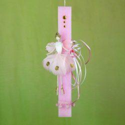 Λαμπάδα ροζ, αρωματική με νεράιδα, ύψους 28cm