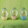 Διάφανο αυγό με λαγουδάκι και χρυσόσκονη, ύψους 10cm