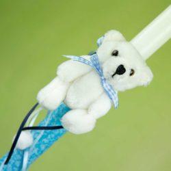 Λαμπάδα μπλε με αρκουδάκι, ύψους 30cm