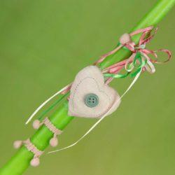 Λαμπάδα πράσινη με ροζ καρδούλα, ύψους 30cm